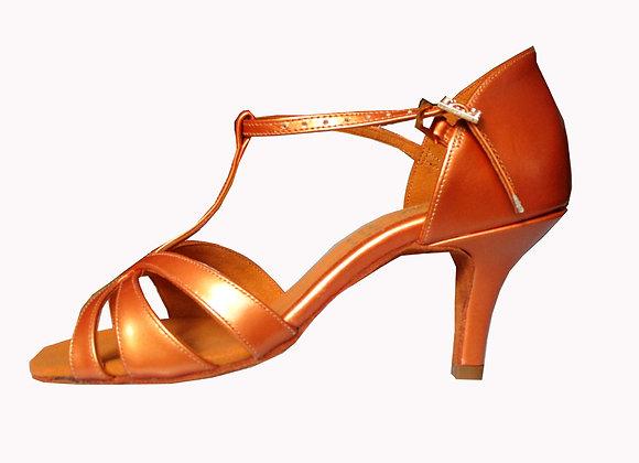 chaussures de danse sportive à salomé FERN en cuir caramel nacré