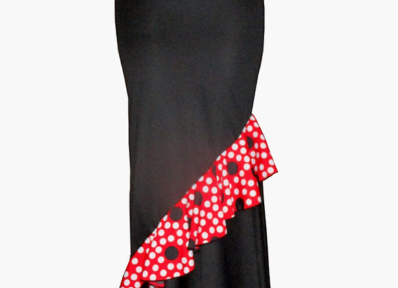 Jupe de Flamenco femme ROSELLA noir à volant à pois
