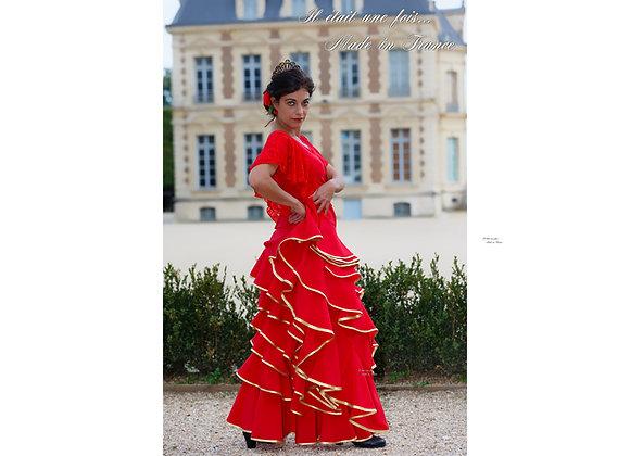 Jupe de Flamenco et Sévillanes PALOMA rouge et doré
