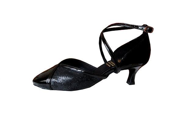 chaussures de danse de salon fermée devant LIAISON noir pailleté et vernis