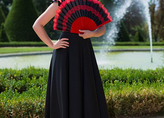 jupe de Flamenco femme BRUNELLA noir et rouge