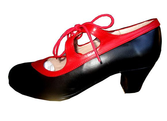 chaussures de Flamenco femme CANDOR en cuir noir et rouge
