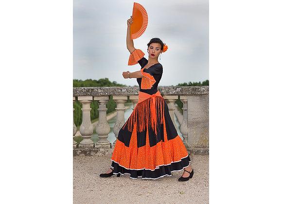 Jupe de Flamenco à deux volants Pépita noir et orange
