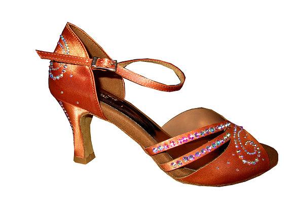 chaussures de danse latine ARABELLA satin caramel cuivré