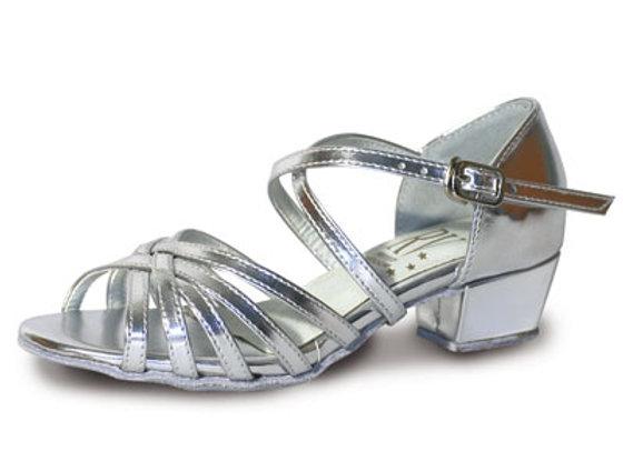 Chaussures de danse de salon fillette BELLA lamé argent