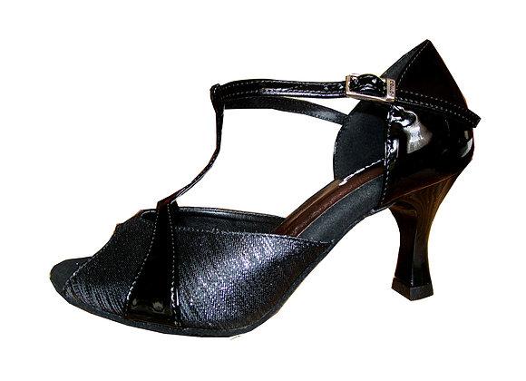 chaussure de danses latines à salomé LIANA noir + vernis