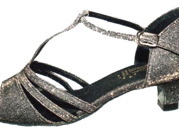 Chaussure de danse femme à petit talon KYLIE brocart gris