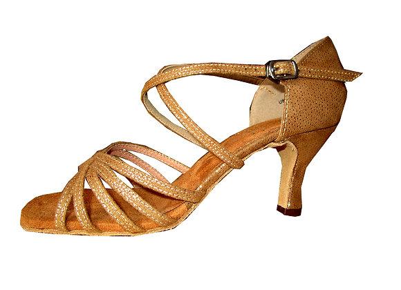 chaussure de danse latine à brides croisées NATHALIA nubuck chair/or