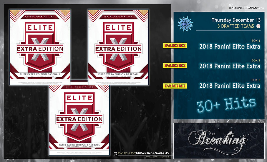 12/13 Draft: 2018 Panini Elite Extra x3