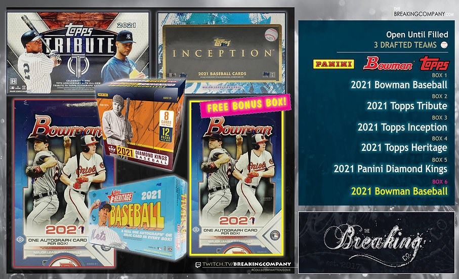 Tribute / Inception / Bowman x2 / Heritage / Diamond Kings   3 Drafted Teams