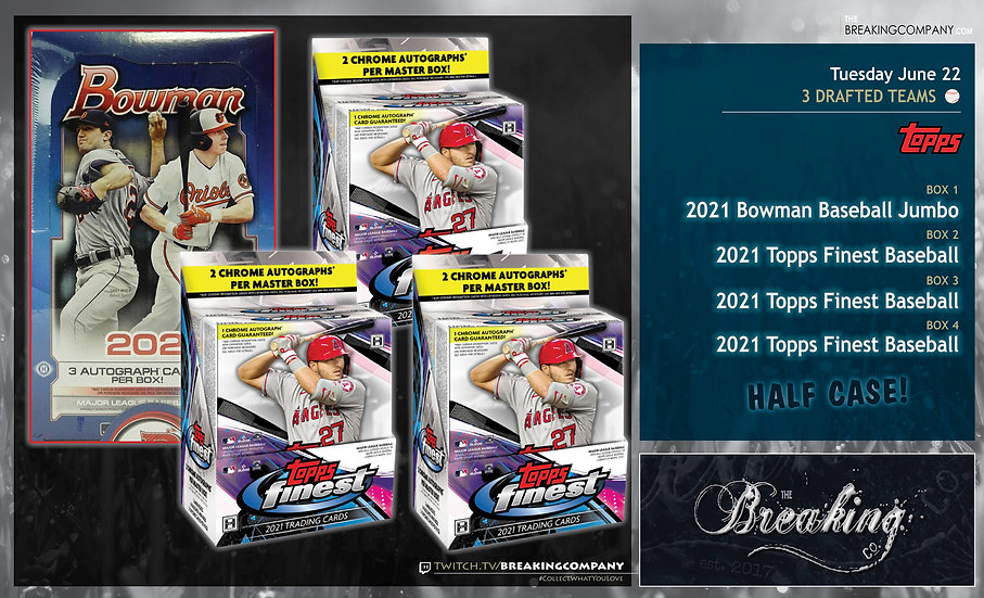 2021 Topps Finest x3 / Bowman Jumbo   3 Drafted Teams