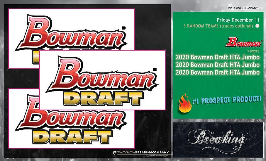 2020 Bowman Draft HTA Jumbo x3   3 Random Teams w/Trades