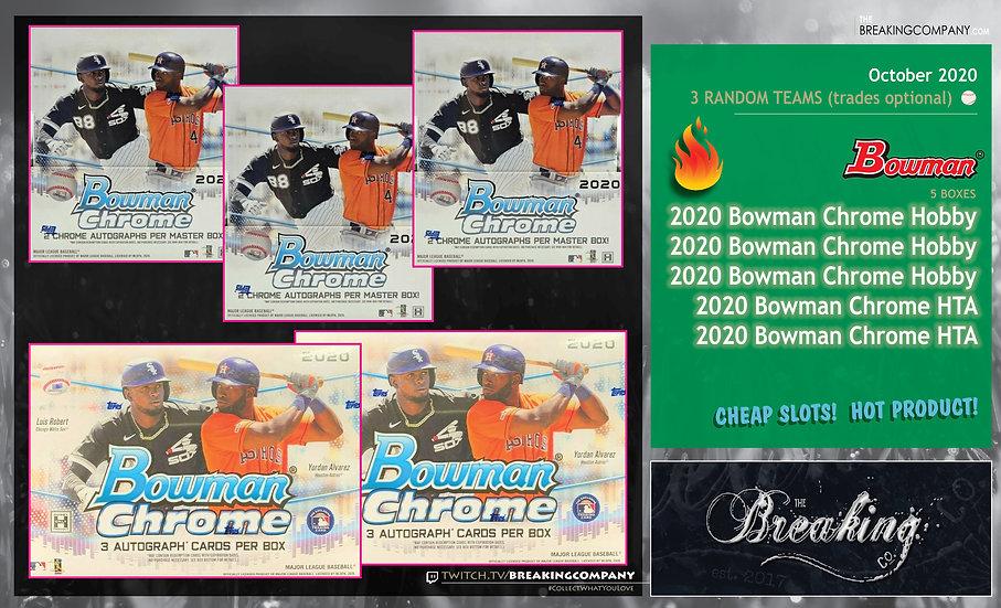 2020 Bowman Chrome Hobby x3 / HTA x2 | 3 Random Teams w/Trades