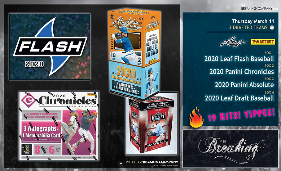 2020 Panini Chronicles / Absolute / Leaf Flash / Draft | 3 Drafted Teams
