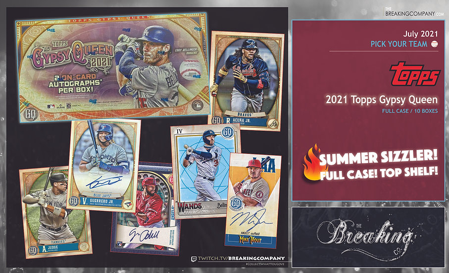 2021 Topps Gypsy Queen 10-Box Case   PYT (Pick Your Team)