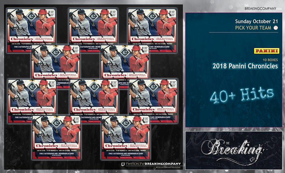 10/21: 2018 Panini Chronicles 10-Box PYT