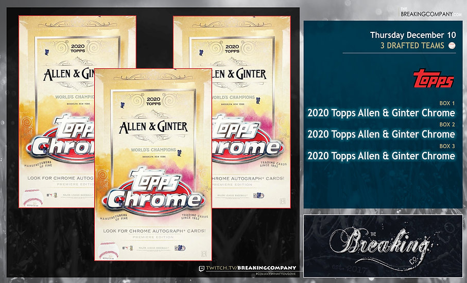 2020 Topps Allen & Ginter Chrome x3   3 Drafted Teams