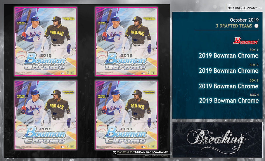 2019 Bowman Chrome 4-Box Draft Break