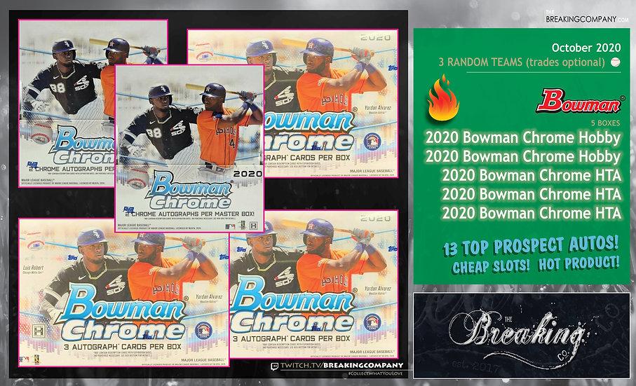 2020 Bowman Chrome Hobby x2 / HTA x3 | 3 Random Teams w/Trades