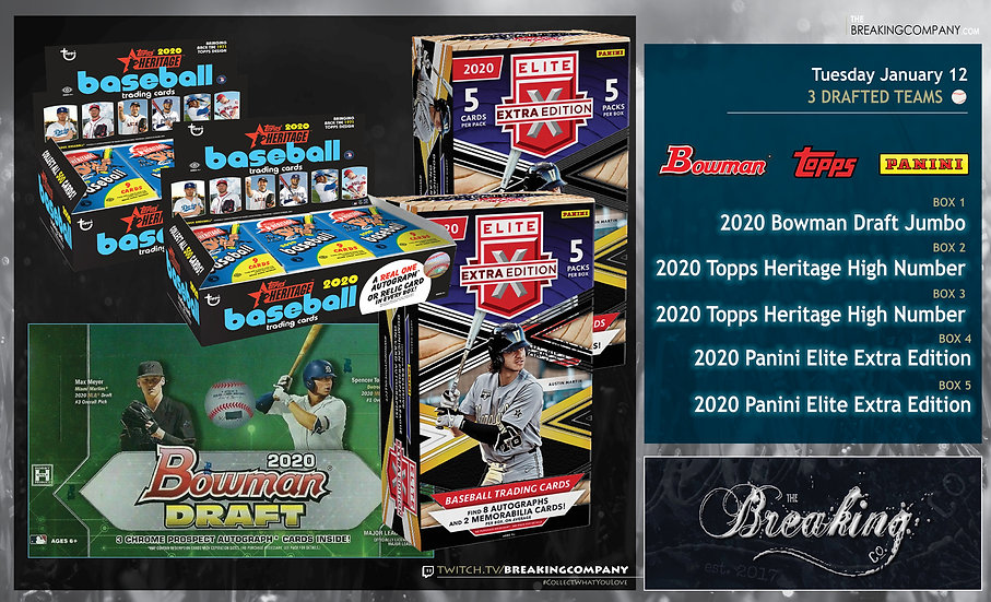 2020 Bowman Draft / Heritage High Number x2 / Elite Extra x2 | 3 Drafted Teams