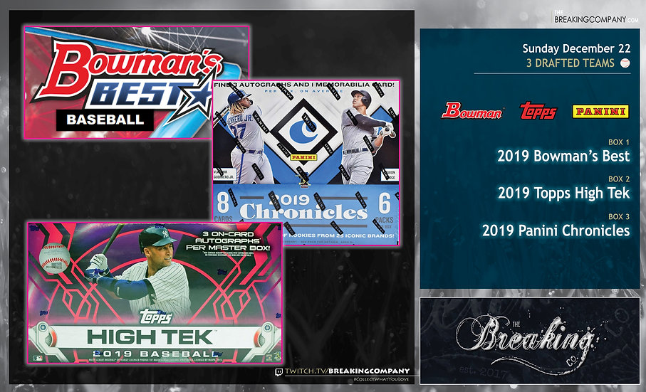 2019 Bowman's Best / High Tek / Chronicles Team Draft