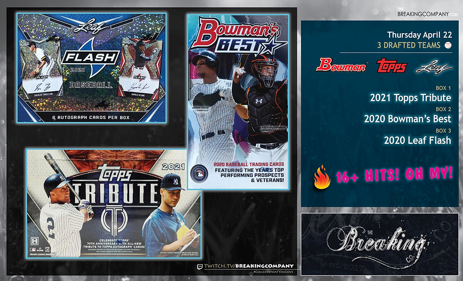 2021 Topps Tribute / 2020 Bowman's Best / Leaf Flash | 3 Drafted Teams