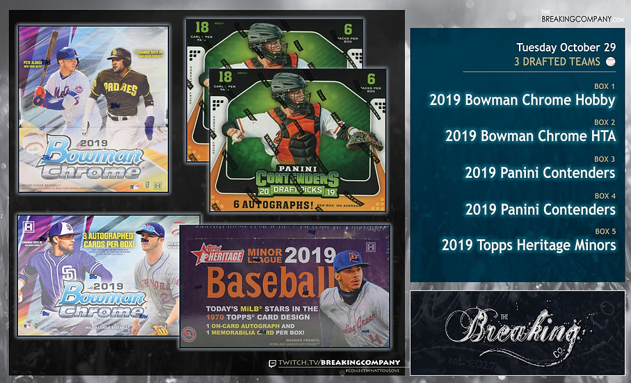 Bowman Chrome / Contenders / Heritage Minors 5-Box Team Draft