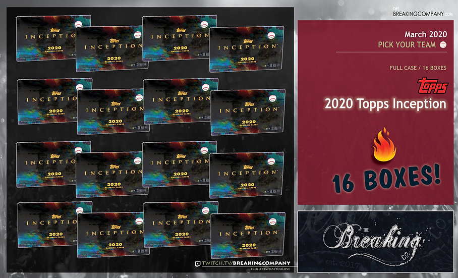 2020 Topps Inception 16-Box Case PYT