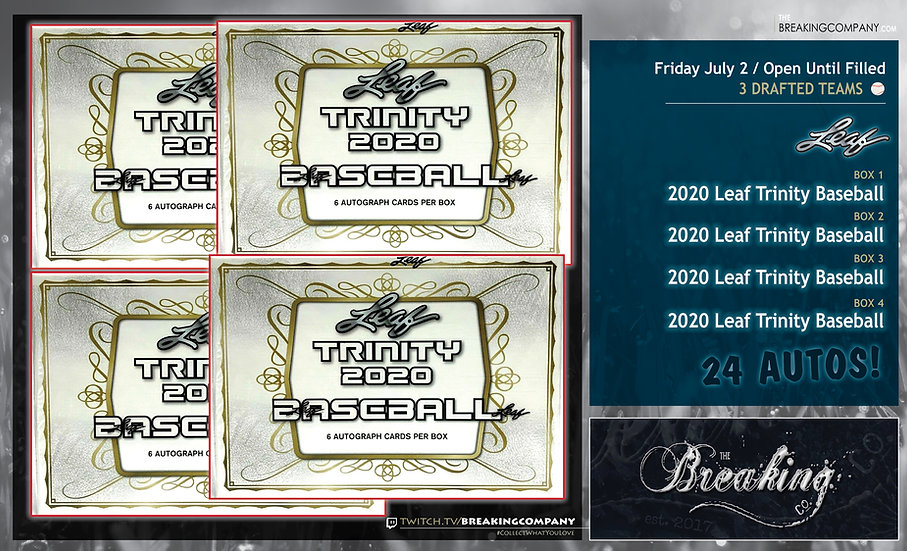 2020 Leaf Trinity Baseball x4   3 Drafted Teams