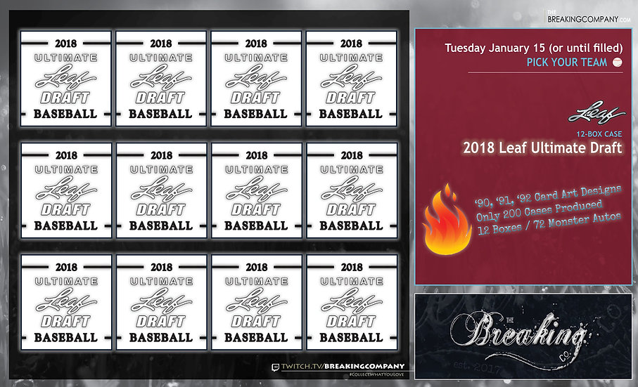 1/15: 2018 Leaf Ultimate Draft 12-Box Case PYT