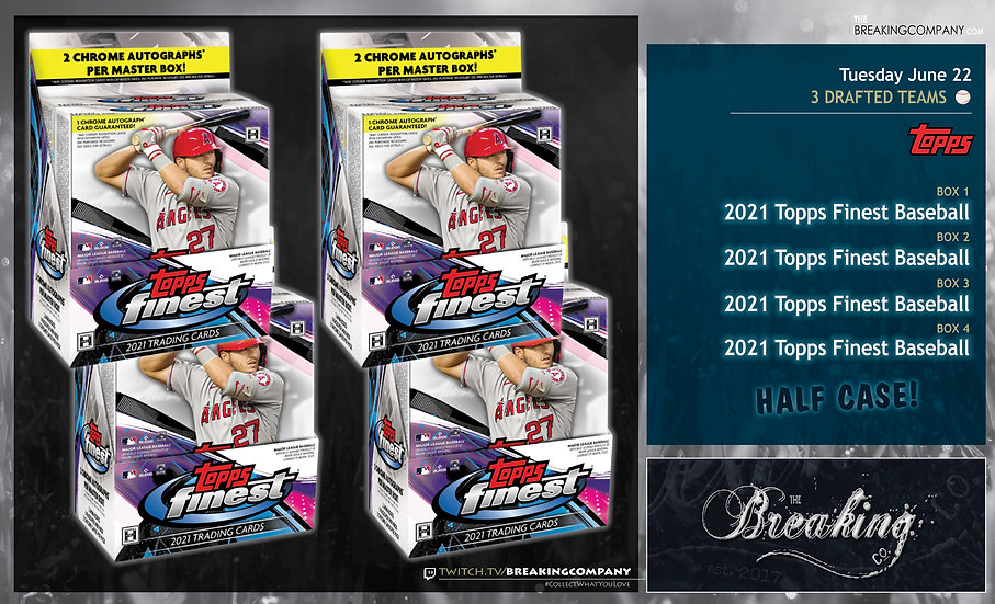 2021 Topps Finest Half Case | 3 Drafted Teams
