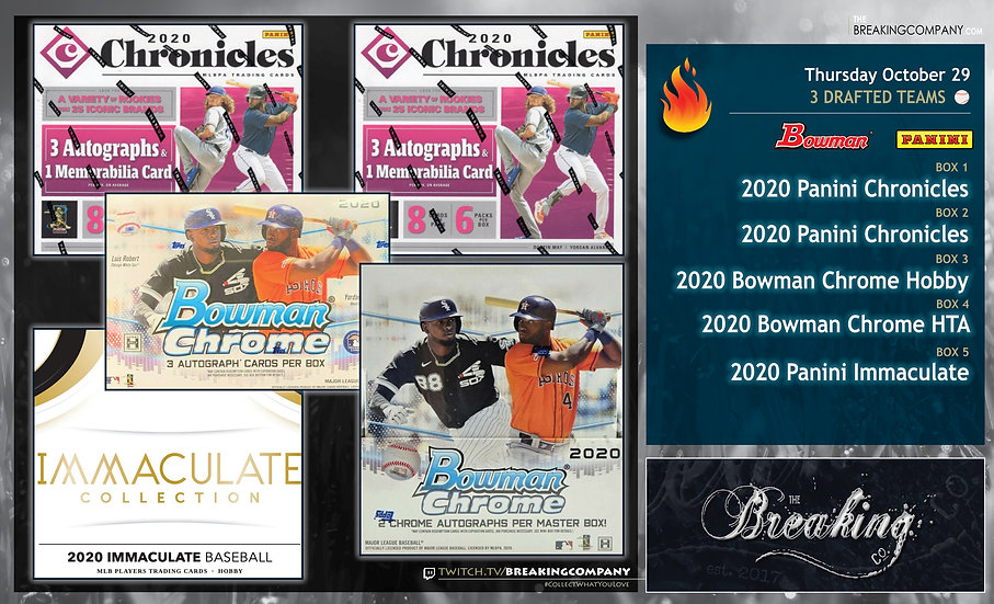 2020 Panini Chronicles / Immaculate / Bowman Chrome | 3 Drafted Teams