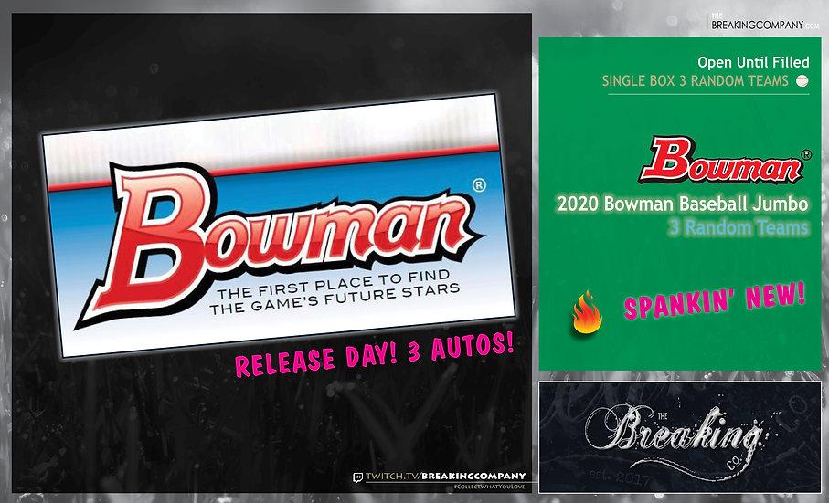 2020 Bowman Hobby Jumbo | 3 Random Teams