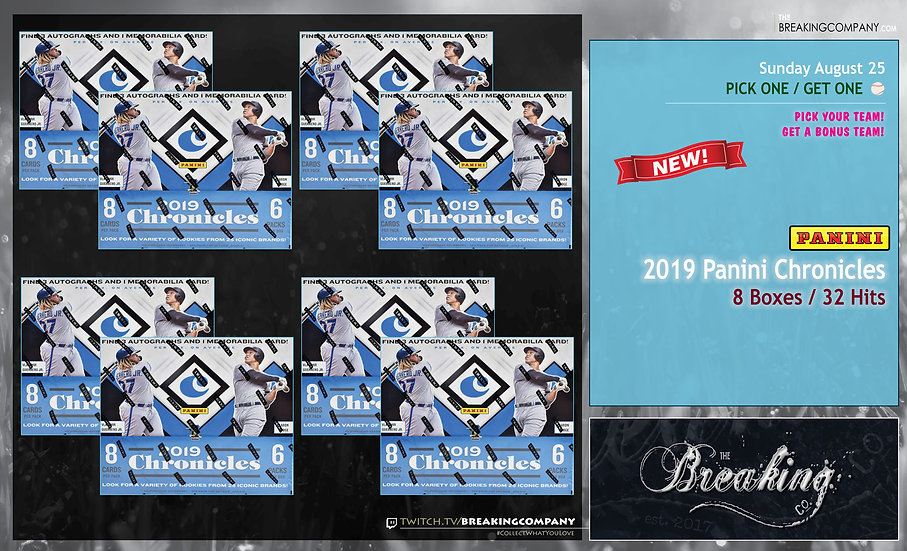 8/25: 2019 Panini Chronicles 8-Box Half Case P1G1