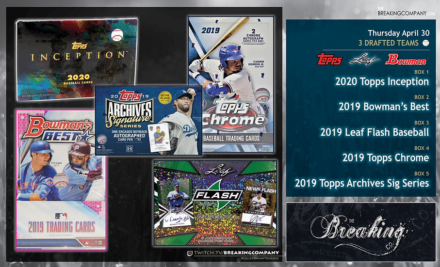 2020 Inception / 2019 Bowman's Best / Topps Chrome / Archives Sigs / Leaf Flash