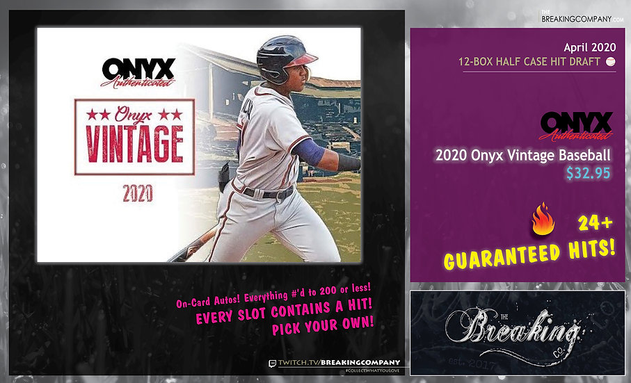 2020 Onyx Vintage 24-Box Full Case Hit Draft