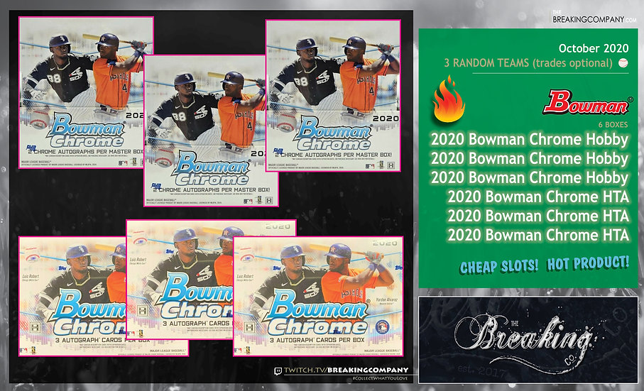 2020 Bowman Chrome Hobby x3 / HTA x3 | 3 Random Teams w/Trades