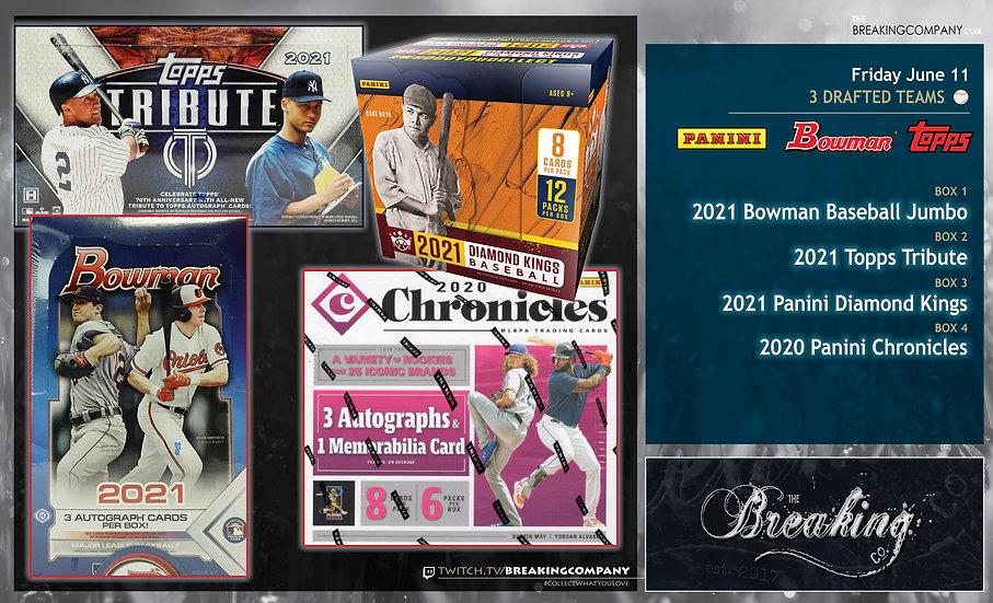 2021 Tribute / Bowman Jumbo / Diamond Kings / 2020 Chronicles   3 Drafted Teams