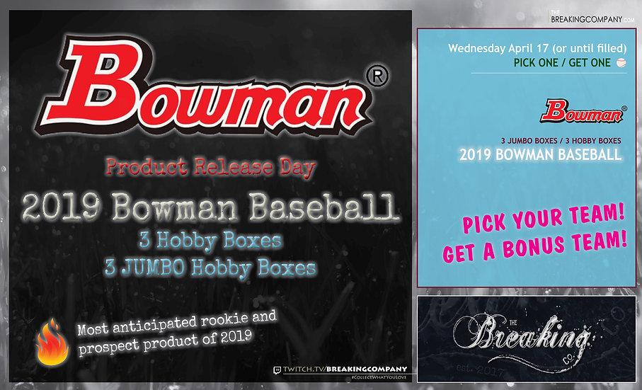 4/17: 2019 Bowman Baseball P1G1 #1
