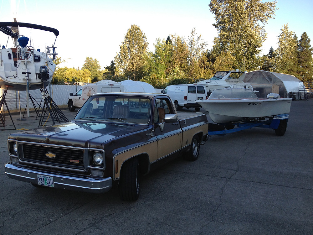Chevy truck pulling boat