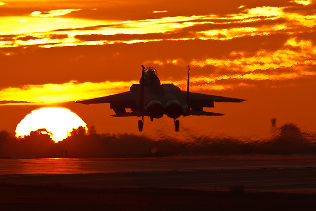 F-15 Eagle into the Sun