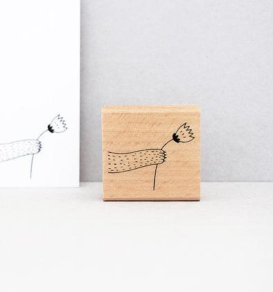 Stempel | Pfote mit Blümchen