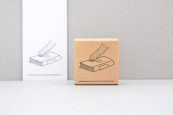 Ex Libris Stempel | Pfote mit Buch