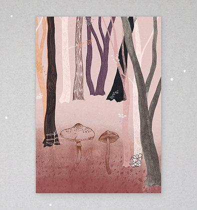 Postkarte   Herbstwald