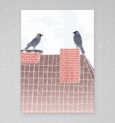 Postkarte | Dohlenpaar