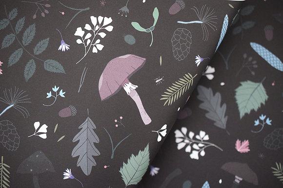 Geschenkpapier | Waldboden | Schwarz