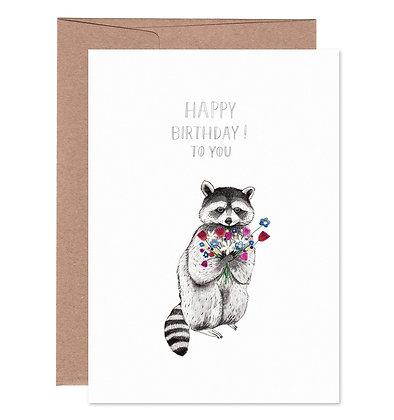 Klappkarte | Waschbär Birthday