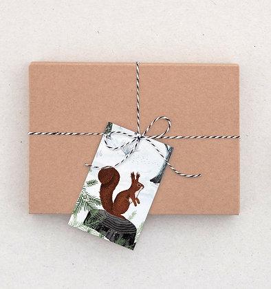 Geschenkanhänger Set | Eichhörnchen im Schnee