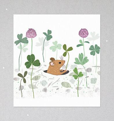 Maus im Klee | Mini Print