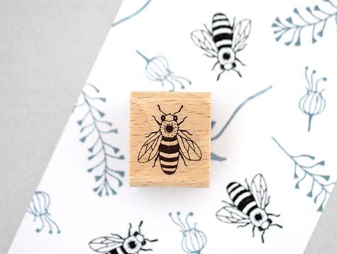 Insekten-Stempelset-Honigbiene-mit-Wabe-